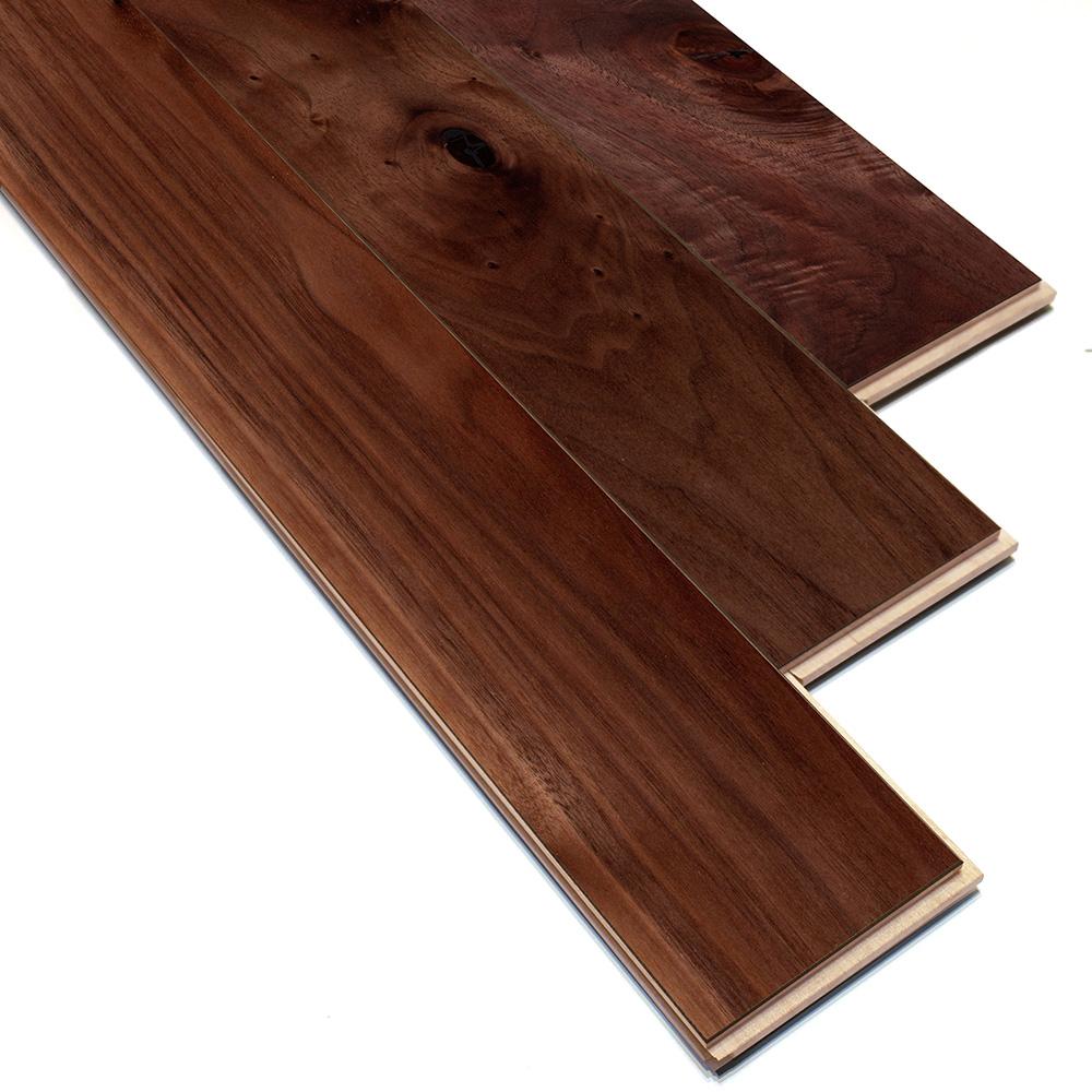 床暖房対応 ブラックウォルナット 一枚もの 複合フローリング【ラスティック】自然塗料(透明つや消しオイル仕上げ) 12×120×909mm