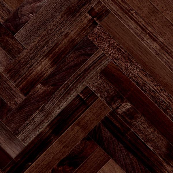 クルミ(アメリカン・ブラック・ウォルナット) ヘリンボーン 無垢フローリング【ナチュラル】オイル仕上げ(透明つや消し) 15×60×420mm