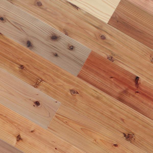 スギ / 杉(柳杉) 一枚もの 無垢フローリング【普及品(紅白)】無塗装 15×120×1820mm